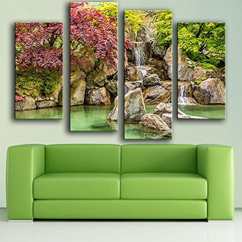 Link Line New Product Print Oil Painting Wall Painting 4Pc/Set Park Reservoir Rocks Waterfall Wall Art Picture For Living Room Painting (Hotels With A Water Park compare prices)