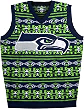 Forever Collectibles NFL Seattle Seahawks Ugly Sweater Vest, Medium, Green