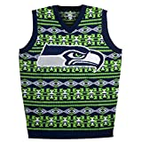 KLEW NFL Seattle Seahawks Ugly Sweater Vest, Large, Green