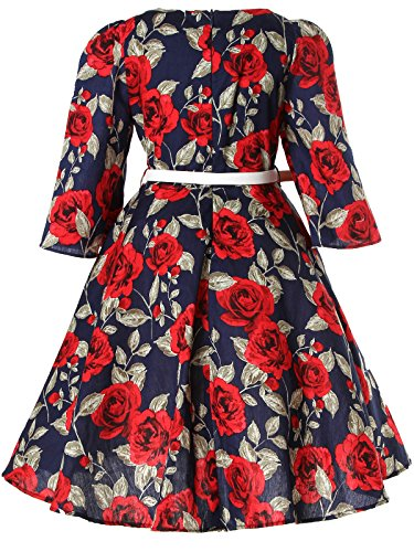 Bonny Billy Girls Classy Vintage Floral Swing Kids Party Dress with Belt 4-5 Years Floral