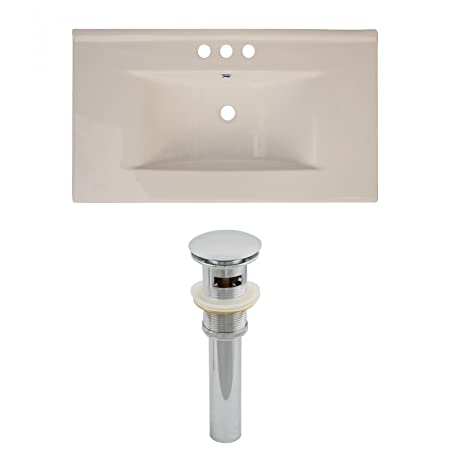 "Jade Bath JB-15509 36"" W x 20"" D Ceramic Top Set and Drain, Biscuit"
