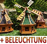 Windmühle, windmühle für garten, WMB130gr+bl-EMS mit Lich...