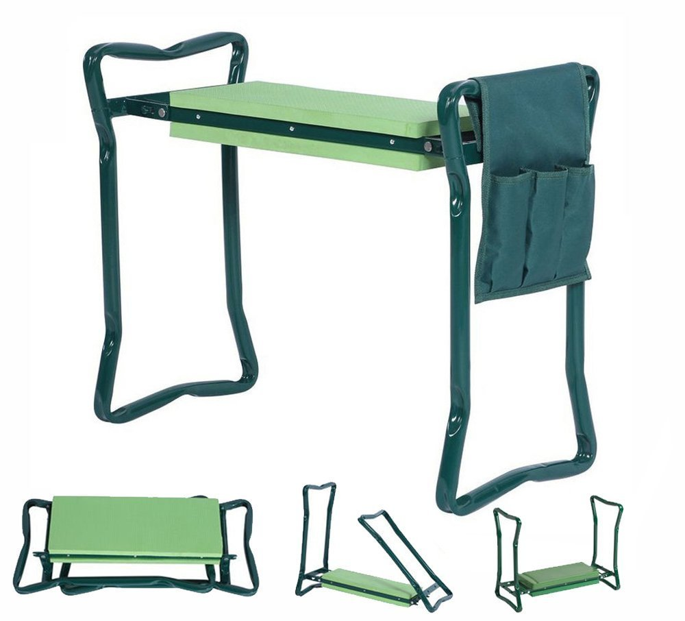"""5Star Foldable Garden Kneeler With Handles And Seat - Bonus Tool Pouch - Portable Garden Stool - Thick EVA Pad (Large - 23.5 x 10.5 x 19"""", Green)"""