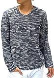 (マルカワジーンズパワージーンズバリュー) Marukawa JEANS POWER JEANS VALUE カットソー Tシャツ メンズ 長袖 無地 Vネック スラブ 4color M ネイビー