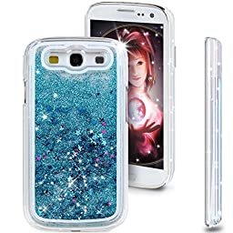 Galaxy S3 Case,Galaxy S3 Cover,Galaxy S3 Liquid Case,ikasus Creative Design Flowing Liquid Floating Luxury Bling Glitter Sparkle Stars Hard Case for Samsung Galaxy S3 I9300(Stars:Blue)