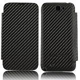 xubix Carbon Akkudeckel Flip Cover Flipcover Display-Klappe f�r Samsung N7100 Galaxy Note 2 Note II - mit schwarzem Rand / Carbon