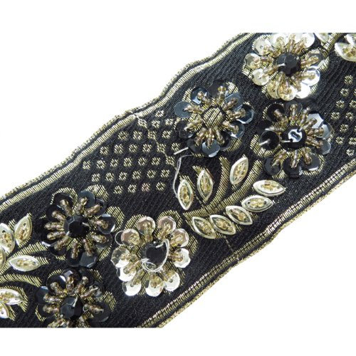 1 Yd Black Hand Beaded Sequin Stone Ribbon Trim Sewing