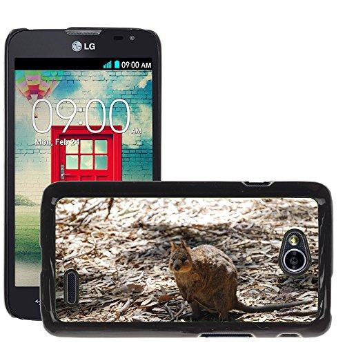 Bild Hart Handy Schwarz Schutz Case Cover Schale Etui // M00135329 Quokka Tier Australien Wild // LG Optimus L70 MS323