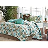 Turquoise Tropical Palm Leaf Beach House Theme California Cal King Quilt, Shams & Toss Pillows (6 Piece Bed In A Bag)