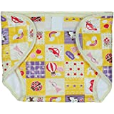 Square Brand Premium Quality Baby Joy Pack Of 6 , Yellow , Inside Terry Towel Outside Printed Plastic , Multisize, Washable Reusable Padded Cushioned Diaper/Langot Nappies For Baby Very Comfortable.