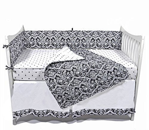Tadpoles Black and White Damask Crib Set, Black/White
