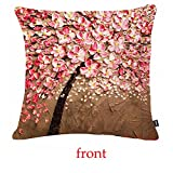 Jinbeile Oil Painting 18x18 Inch Cotton Linen Throw Pillow Cover Decorative Cushion Case Home Pillowcase With 3D Pink Flower and Black Tree