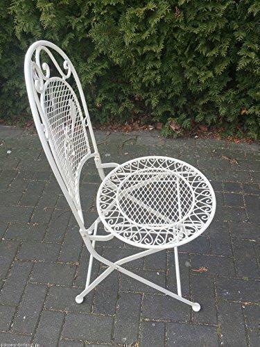 Gartenmöbel Stuhl Gartenstuhl Schmiedeisen Bistrostuhl Garten Weiß Antik H 97 cm kaufen