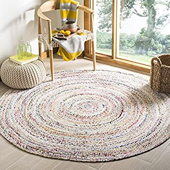 Safavieh Braided Collection BRD210B Handwoven Ivory and Multicolored Round Area Rug (5 in Diameter)