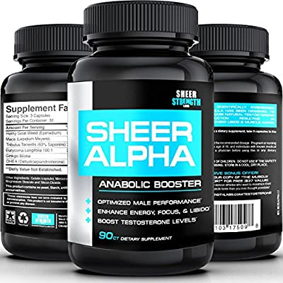 #1 Testosterone Booster Supplement SHEER ALPHA - 100% Natural Science-Based Formula Guarantees Real Results or Your Money Back - Full 30 Day Supply