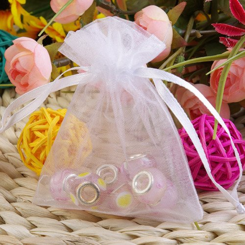 100Pcs White Sheer Organza Jewelry Pouches Wedding Party Favor Gift Bags 6X8cm