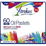 Premium Oil Pastels 60 Assorted Colors Non Toxic, Smooth Blending Texture, Ideal For All Artist Levels Includes Pastel Holder Sharpener.