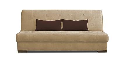 Schlafsofa Abele in beige mit Bettfunktion und Staukasten - Abmessungen: 203 x 91 cm (B x T)