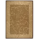 Safavieh Courtyard Collection CY2665-3009 Brown and Natural Area Rug, 9 feet by 12 feet (9' x 12')