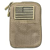 Ultimate Arms Gear Coyote Tan Molle Gear-Ipod-Camera Case + Removable U.S.A. Flag Velcro Patch