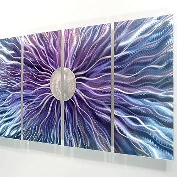 Beautiful  Large Blue Purple and Silver Metal Wall Art Painting Panel Art Wall Decor Wall Sculpture Modern