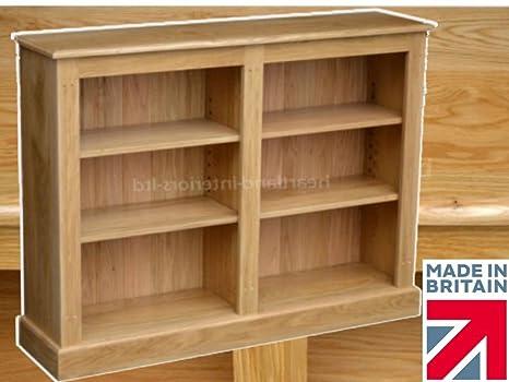 100% Solid Oak Bookcase, 3ft x 4ft Split Adjustable Storage Display Shelving Bookshelf. Heartland Oak Range, No Flat-Packs, No Assembly (BKOAK5)