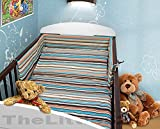 COT BUMPER 100 COTTON PADDED FOR BABY FIT COT 120x60 140x70 STRAIGHT 180cm to fit cot 120x60cm Brown Stripes