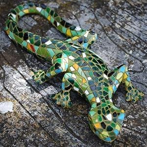 Green Mosaic Lizard Resin Garden Ornament