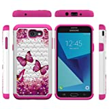 Galaxy J7 V J7V Case, J7 2017 Hybrid Rugged Shock Absorption Drop Resistant Full Body Dual Layers Shockproof TPU Bumper PC Shell Bling Shiny Glitter Diamond Cute Paint Cover for Samsung Galaxy J7 (Color: Hot Pink)