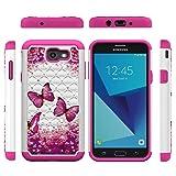 Galaxy J7 V J7V Case, J7 2017 Hybrid Rugged Shock AbsorptionDropResistant Full Body Dual Layers Shockproof TPU Bumper PC Shell Bling Shiny Glitter Diamond Cute Paint Cover for Samsung Galaxy J7 (Color: Hot Pink)