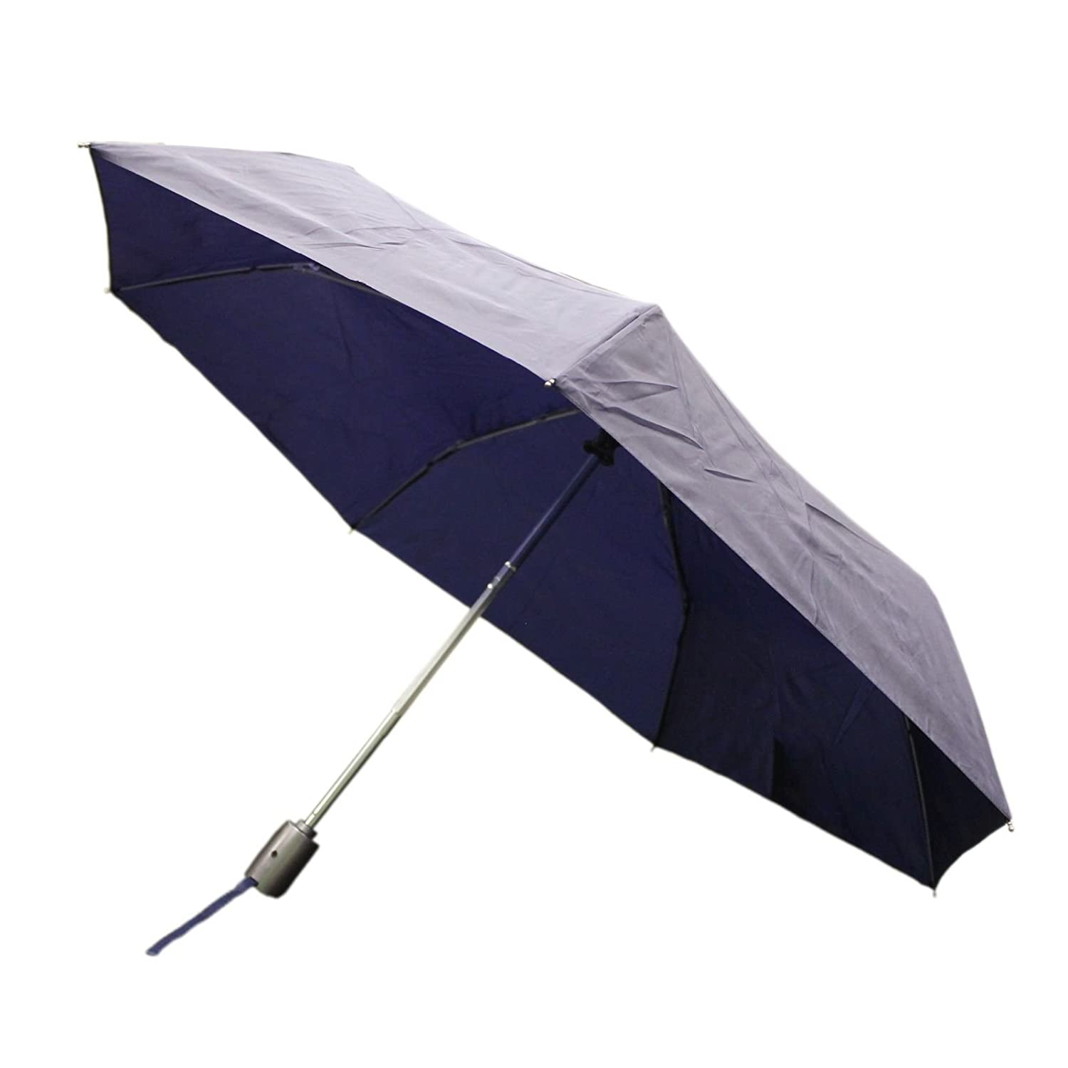 Totes Auto Open/Auto Close Umbrella w/ Grey Handle (Navy)