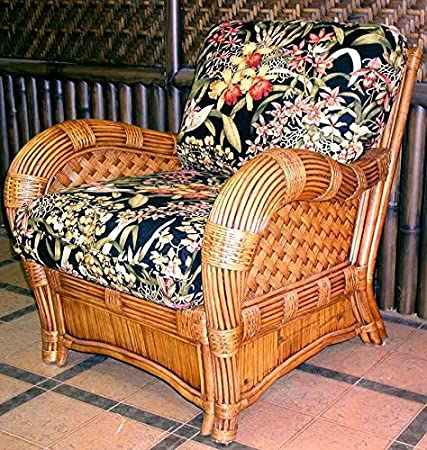 Armchair with Wicker Frame (Martindale Stripe Maple (All Weather))