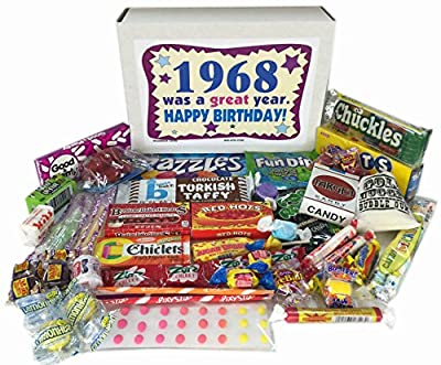 1968 Retro Nostalgic Candy 48th Birthday Gift Basket Box Jr. Born '60s