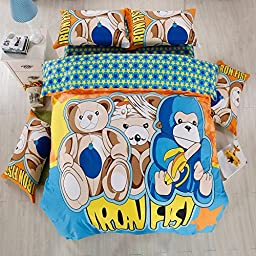 TheFit Paisley Textile Bedding for Adult U828 Multi Color Star Bear Bomb Duvet Cover Set 100% Cotton, Queen Set, 4 Pieces