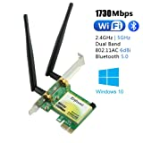 Ziyituod WiFi Card | Bluetooth 5.0 AC1730Mbps Wireless PCI Express(PCIe) Network Adapter | Low Profile, 2.4G/5G Dual Band Wireless PCI-e Card for Desktop/PC Gaming