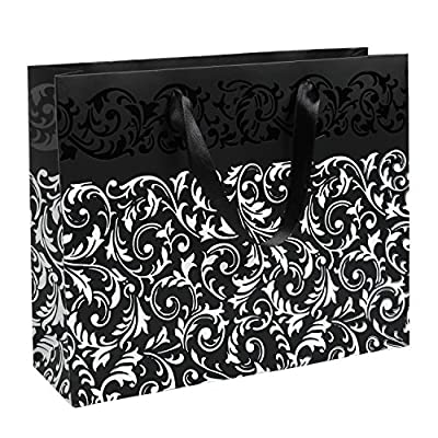 MyGift Metallic Foil Party Gift Bags and Tissues (Set of 3) -- Arabesque Floral Pattern