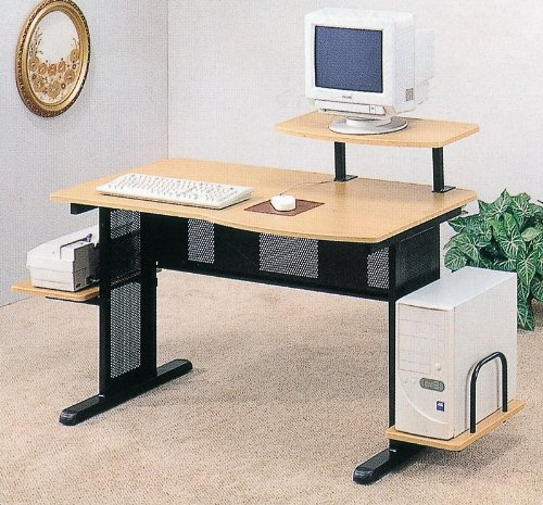 Buy Low Price Comfortable Home Office Black/Beech Finish Computer Desk WorkStation w/Printer Dock (B0002KNMSU)