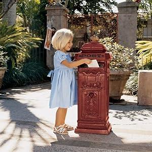 "38"" English Antique Replica Foundry Cast Iron Post Box"
