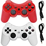 Molgegk 2 Packs Wireless Bluetooth Controller Compatible for PS3 Playstation 3 Double Shock - Bundled with USB Charge Cord (Red and White) (Color: Red and White)