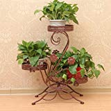 Dazone® 3-Tiered Scroll Decorative Metal Garden Patio Standing Plant Flower Pot Rack Display Shelf Holds 3-Flower Pot (Bronze)