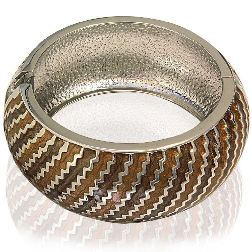 Hinged Bangle Bracelet-Orange Brown Color & Metal Stripes Design