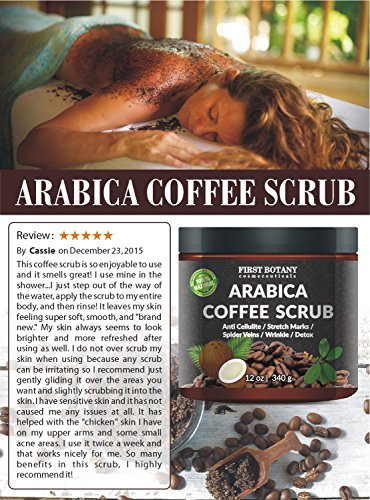 100-Natural-Arabica-Coffee-Scrub-12-oz-with-Organic-Coffee-Coconut-and-Shea-Butter-Best-Acne-Anti-Cellulite-and-Stretch-Mark-treatment-Spider-Vein-Therapy-for-Varicose-Veins-Eczema