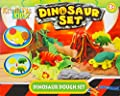 Kids Dough Doh Moulding Modelling Play Set Tubs Clay Rolling Pin Cutters Moulds - Dinosaur Set