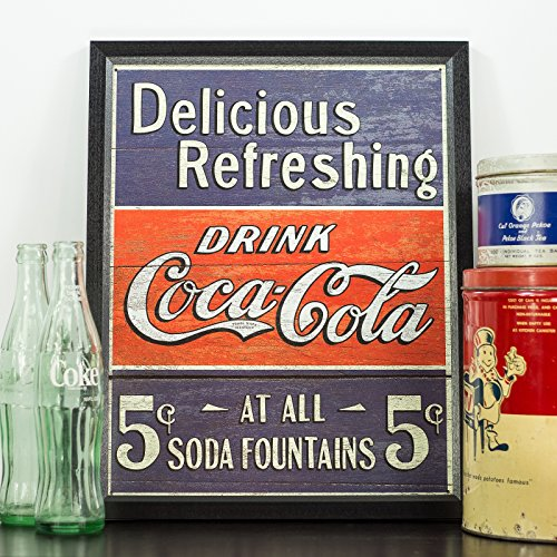 Vintage Delicious Refreshing Coca-Cola Tin Sign, 12.5-Inch by 16-Inch, Distressed Appearance, Framed in .84-Inch Wide Black Picture Frame 1