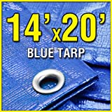 BlueDri 14' X 20' Blue Multi-Purpose 6-mil Waterproof Poly Tarp Cover 14x20 Tent Shelter Camping Tarpaulin by Grizzly Tarps ~ BlueDri