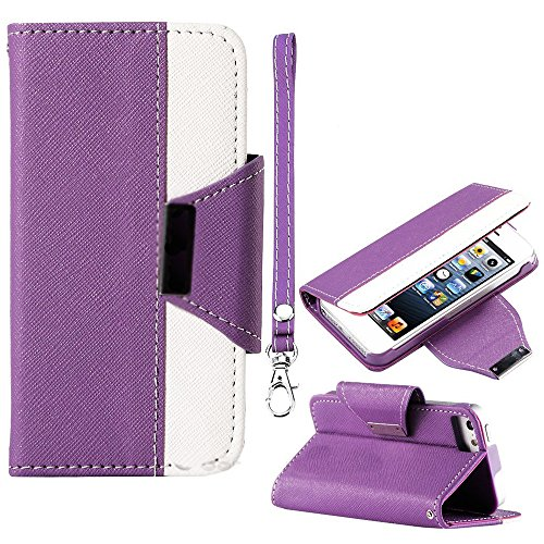 Mylife (Tm) Violet Purple And White Fancy Design - Textured Koskin Faux Leather (Card And Id Holder + Magnetic Detachable Closing) Slim Wallet For Iphone 5/5S (5G) 5Th Generation Itouch Smartphone By Apple (External Rugged Synthetic Leather With Magnetic