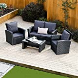 New Algarve Rattan Wicker Weave Garden Furniture Patio Conservatory Sofa Set, INCLUDES OUTDOOR PROTECTIVE COVER (Black/Dark Cushions)