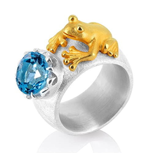 Drachenfels Women's Ring 925 Sterling Silver Partially Gold Plated Frog Princess Cut Blue Topaz D FR 111 / AG 2 Colour