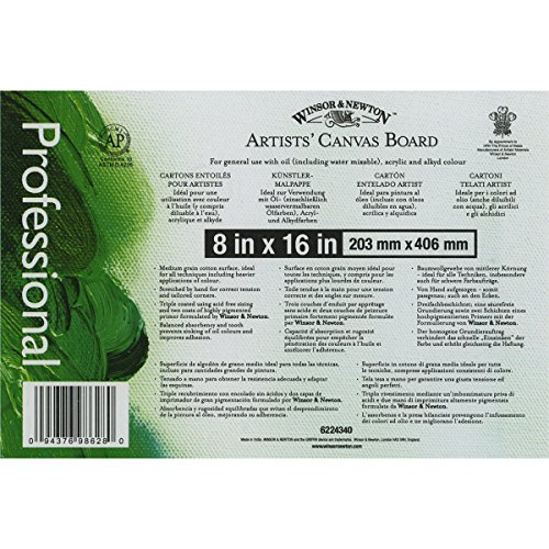 Winsor Newton Artists' Quality Canvas Board, 8 x 16""