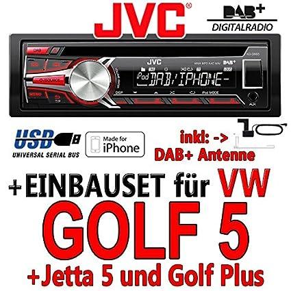 VW golf 5 jVC-kD-dB65 dAB autoradio cD/mP3/uSB avec dAB et antenne